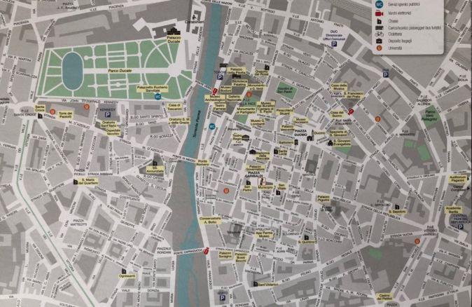 Cartina del Centro storico di Parma