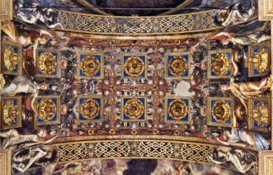 Sottarco del presbiterio della Steccata con le Tre vergini savie e tre vergini stolte del Parmigianino.