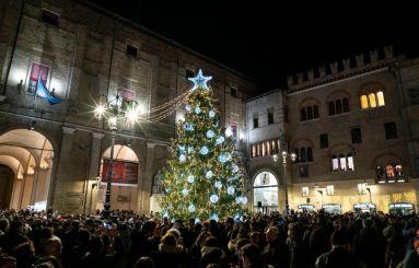 Albero di Natale acceso in Piazza Garibaldi